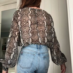 Zara long sleeve snake skin body suit